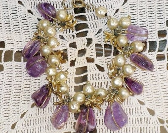 Vintage Amethyst Stone and Faux Baroque Pearl Dangling Charm Bracelet (BR-1-1)