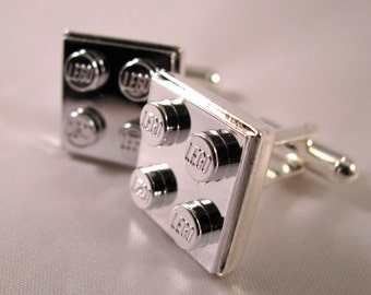 2x2 Silver Chrome Brick Cufflinks