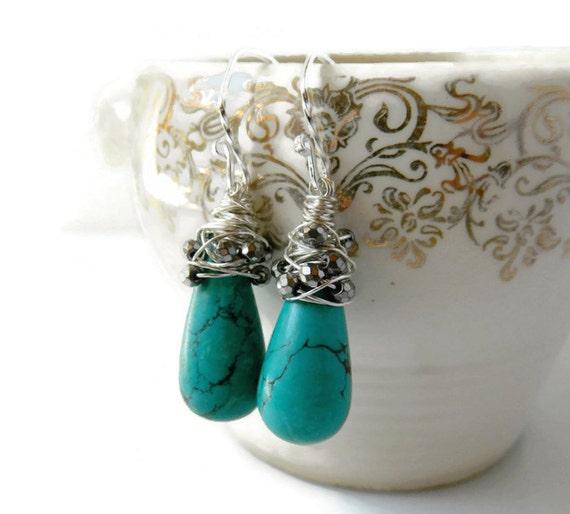 Teardrop Turquoise Earrings Gemstone Green Drop Earrings Long Dangles Pyrite Earrings Sterling Silver Wire Wrapped Birthstone Gift Mom Her