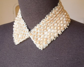 Vintage Pearl Collar, Vintage Pearl Choker, Detachable Collar, Beaded Pearly White and Silver Necklace, Girlie Kawaii Style