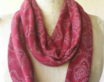 One of a kind Henna tubular infinity scarf