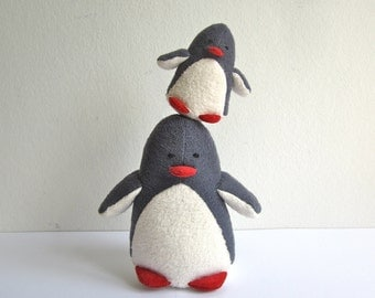 Penguins - mama and child, organic, baby, toddler, eco friendly, animal, toy, plush, soft, cosy, grey, white, yellow, shower gift