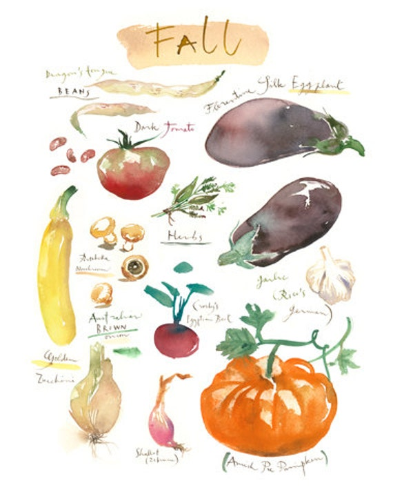 Items similar to fall vegetable art print heirloom for Decoration culinaire