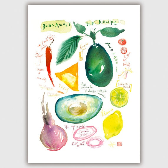 Guacamole recipe print, Kitchen wall art, Illustration print, Watercolor food, Kitchen decor, Avocado painting, Vegetable art, Cooking gift