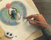 """Woman drawing a colorful Egyptian winged scarab beetle that is coming to life - Art Reproduction (Print) - """"Scribe"""""""