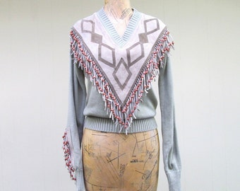 Vintage 1970s Knit Top / 70s Taupe Southwestern Suede Fringed Beaded Pullover Sweater / Deadstock NWT / Medium