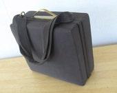 Vintage 1940s Square Luggage Handbag Purse  / 40s Dark Brown, Soft Grosgrain Exterior and Handle - Glamour Box Bag - Hollywood Pocket Book