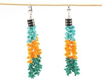 Earrings-Orient Orange Mint Beaded Crochet Tassel Statement Jewelry,Bohemian Tassel Earrings,Fringe Jewelry,Fiber Art