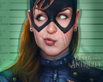 DC Comics BatGirl Lineup Gotham Mugshot Original Illustration Jacob Sparks Poster Print You Should've Seen the Other Guy- 3 Sizes Available