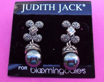 Authentic Sterling Silver Judith Jack Faux Tahitian Pearl Earrings with Marcasites and CZs