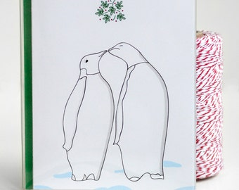 Christmas Cards - Set of 8 - Mistletoe Penguins