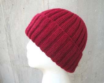 Red Hat, Hand Knit, Wool Blend, Men Teens Women, Watch Cap, Toque Beanie, Jacques Cousteau