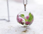 Cherry blossoms Necklace -  Blooming Sakura inspired jewelry - mori girl real flowers necklace