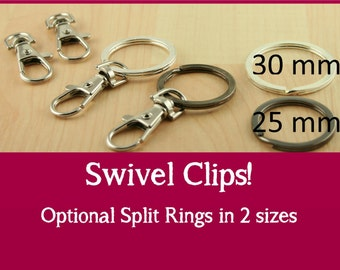 50 - Large, Swivel Key Ring Clips, Handbag Clips, Swivel Charm Clips, PLATINUM Silver, Heavy, Sturdy -Optional Large Split Ring Key Rings