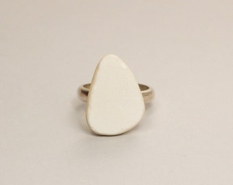 White Ceramic with Silver Ring | white drop | One Of a Kind Rings | size 55.5 | unique ring for her | Noga Berman