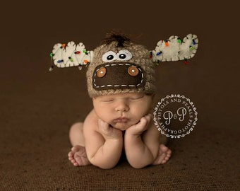 Moose Hat with christmas lights NEWBORN christmas hat photo prop christmas reindeer hat newborn boy or girl Tan Offwhite brown Made to Order