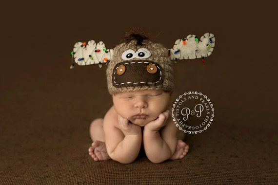 Moose Hat With Christmas Lights Newborn Christmas Hat Photo