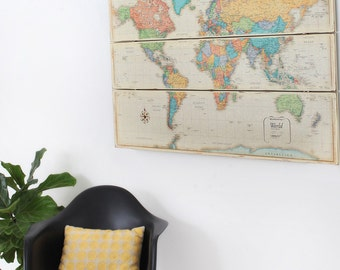 Large World Map- Rustic Map on Wood-Shabby Chic-Nursery Decor-Explorer-Large Colorful Map