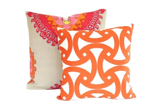 Set of Two Outdoor Trina Turk Pillow Covers- Santorini and Super Paradise Punch- Schumacher Pillows