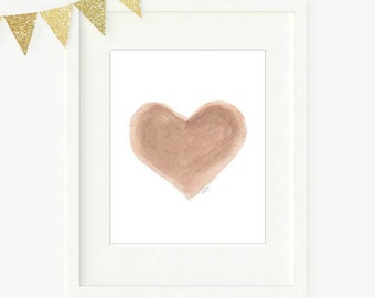 Gender Neutral Nursery Decor, Natural Decor, Natural Nursery Art, Sepia Heart Art, 8x10 Watercolor Print, Neutral Nursery, Neutral Decor