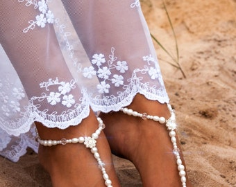 35% SALE Bridal foot jewelry Pearl and Rhinestone Beach wedding Barefoot Sandals Swarovski Elements barefoot sandal Beaded Barefoot Sandals