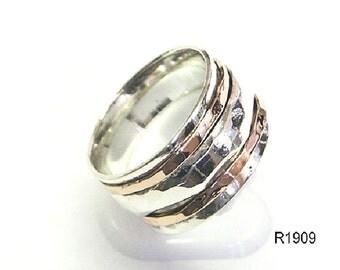 Spinning artisan wedding 9k gold 925 silver ring handcrafted band size 6 7 8 9 10, wedding gold ring, wedding silver ring, wedding gold band