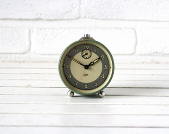 SALE Vintage German Traditional Alarm Clock Green and Siver with Beige- Gewa