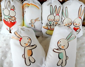 """Wedding favor Party Bags Lovin Bunnies for gifts or treats can be Personalized  5"""" X 7"""" or  6"""" X 8""""  Qty 6"""