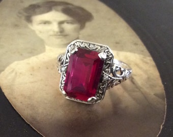 Charming Sterling  Ruby & Seed Pearl  Ring Size 6 3/4