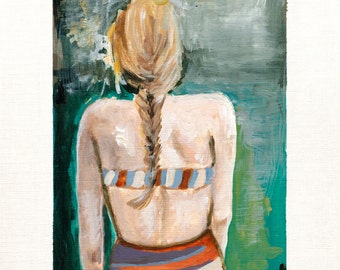 Summer Braid. Giclee Art Print, Whimsical Girl Painting, Modern Home Decor, 8 x 10