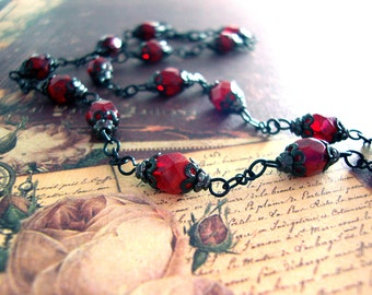 Oxblood Black Victorian Mourning Jewelry - Blood Red and Black Gothic Jewelry - Black and Red Vampire Jewelry - Gothic Victorian Bracelet