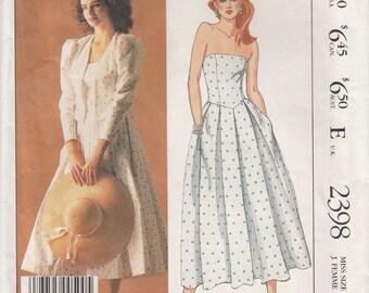 McCalls 2398 Laura Ashley Strapless Dress, Boned Bodice and Shaped Jacket, Garden Party, Romantic Wedding Dress, Size 8 Uncut