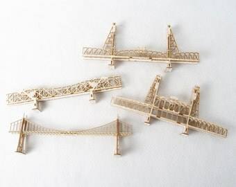 Set of Four Model Kits  of  Portland Oregon Bridges - laser cut models kits