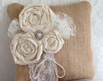 "Wedding ring pillow Rustic ring bearer pillow Rustic wedding burlap lace ring bearer pillow 8"" x 8"""