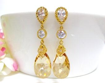 Bridal Crystal Earrings Swarovski Golden Shadow Teardrop Crystal Champagne Gold Earrings Bridesmaids Gift Wedding Jewelry Gift (E151)