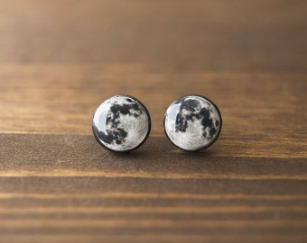 Full moon earrings, space, astronomy, black, white, grey, stud earrings