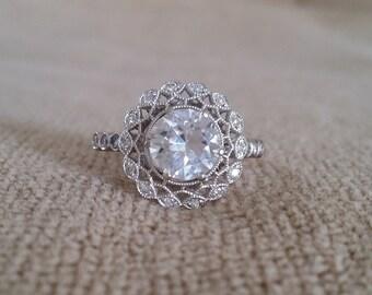 "Halo White Sapphire Diamond Ballerina Antique Engagement Ring Gemstone Flower Filigree Round 14K White Gold Vintage ""The Mae"""