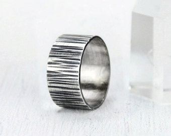Wide Band Hammered Silver Ring, Rustic Wood Grain Band Ring, Minimalist Statement Ring