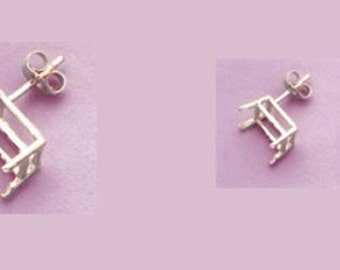 1 pair of ~ Sterling Silver ~ 5x3, 5x4, 6x4, 6x5, 7x5, 8x6, 9x7, 10x8, 11x9 or  12x10mm Emerald  Earring Mounts ~ to be ordered ~ #020 ~ FDK