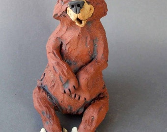 Brown Bear with Bunny Slippers Whimsical Ceramic Sculpture