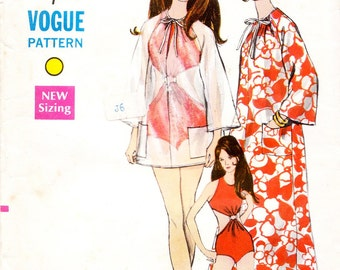 Vintage 60s swimsuit and cover-up sewing pattern - Vogue 7316 - bust 36