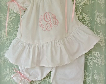 Monogrammed Baby Top and Pants Set Size 3 months to 2 years Juvie Moon Designs