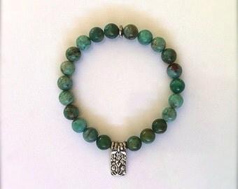 Lotus Boho Yoga Bracelet  Mala Bracelet, Silver Water Lily Charm, Jasper Gemstone Jewelry, Stretch Bracelet Yoga Jewelry