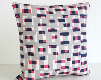 Sofa Pillow Cover, Accent Pillows, 18 Inch Pillow Cover, Couch Pillow Cover, 18x18 Pillow, Pillow Sham, Pillows - Graphic Blocks Hot Pink