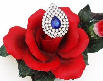 Vintage Cobalt Blue Rhinestone Brooch Tear Drop Pin Hollywood Glamour Wedding Bridal Jewelry