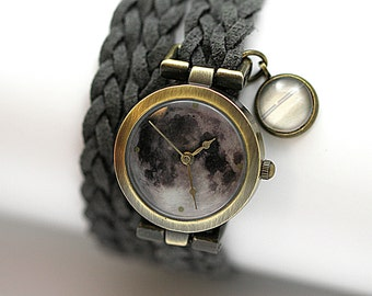 MOON wrap watch, grey braided suede. Watch head with FULL MOON motif and stylized planet charm. Planet / Nebula Watch for her.
