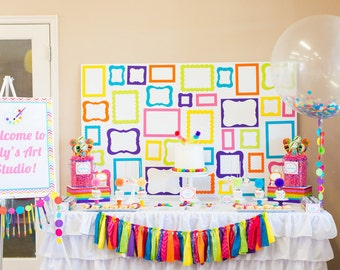 Rainbow Art Party - Art Birthday - Arts and Crafts Party - PRINTABLE Girls Party Package - Editable Instant Download - Rainbow Birthday
