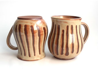Big and Dark Striped Mugs - Set of two