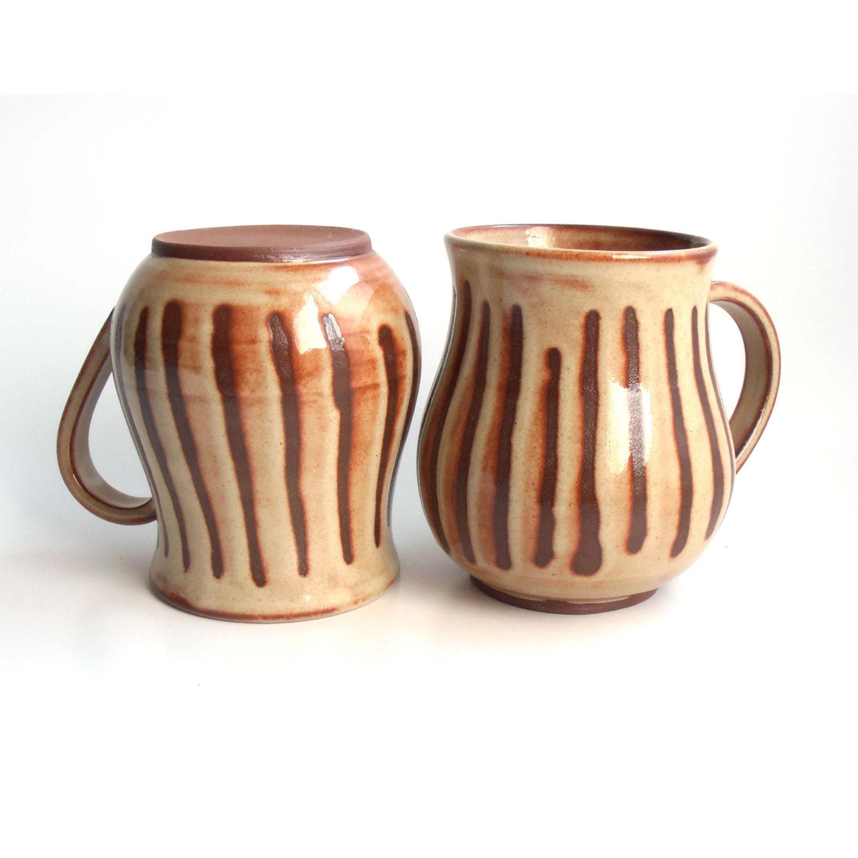 Big Rustic Coffee Mugs Dark Earth Toned Mugs Set Of Two