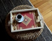 Ethnic serving tray with handles, hostess gift, fall winter home decor, made to order